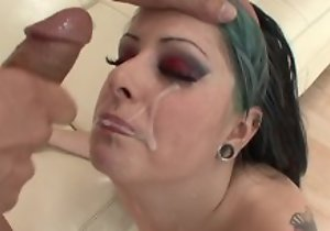 Avid punk chick with inexperienced breasts getting her cunt drilled