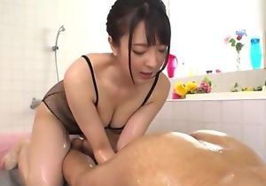 Hot Japanese girl with obese upfront jugs licks BF's asshole