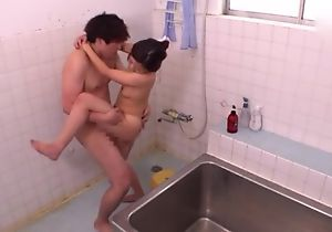 Ravishing Asian nipper takes a nice shower in front property fucked