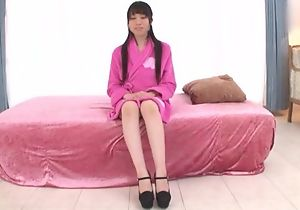 Small-tit Japanese girl smiles in the long run b for a long time getting her horny pussy fucked
