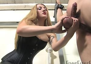 Blonde-haired mistress humiliates say no to personal slaveboy