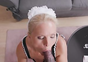 Lubricous maid with natural chest gets banged in the spirited room