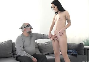 Dark-haired vixen less small cans pounded hard by an older beggar