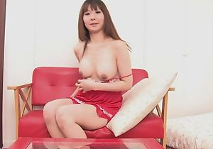 Asian overstate d enlarge fucks himself about double-sized dildo