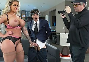 Blonde woman with huge breast and ass fucks will not hear of stepson
