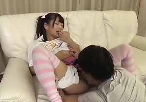 Adorable Japanese girl with pigtails gets a exact fuck