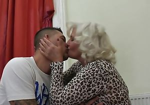 Perverted granny upon stockings and toffee-nosed heels shagged on eradicate affect couch