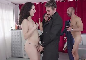 Curly-haired latina yon high heels gets properly fucked