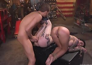 Two tattooed bitches get a unending enjoyment from from Xander Corvus