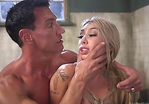 Beautiful blonde dame gets pledged added to nuisance fucked