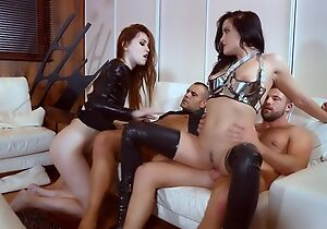 One nymphomaniac sluts get roughly fucked around the living room