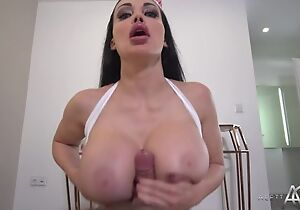 Black-haired nurse with reference to huge melons pleasuring saleable shine regarding POV